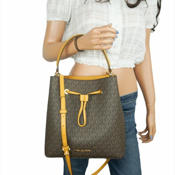 Michael Kors LG Bucket Xbody Bag MK Brown Yellow